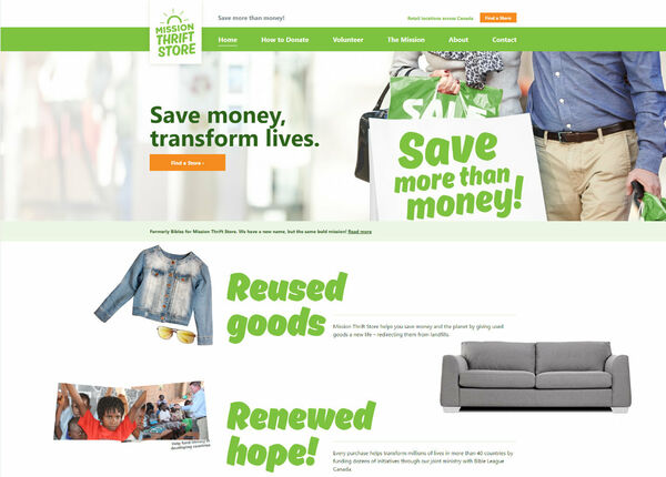 Screenshot of Mission Thrift Store website