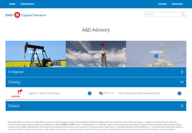 screenshot of BMO A&D Advisory website