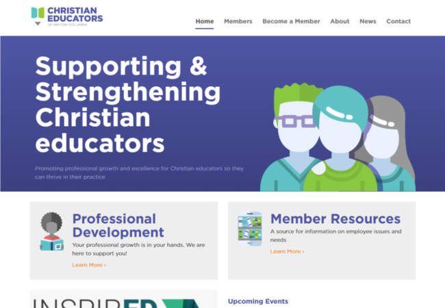 screenshot of Christian Educators of British Columbia website