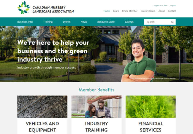 screenshot of Canadian Nursery Landscape Association website