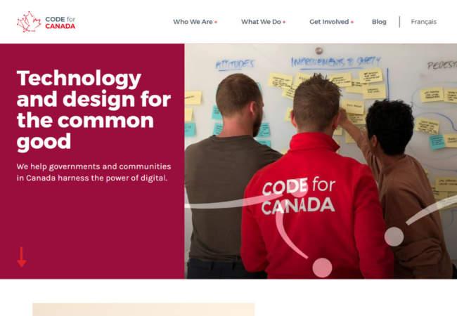 screenshot of Code for Canada website