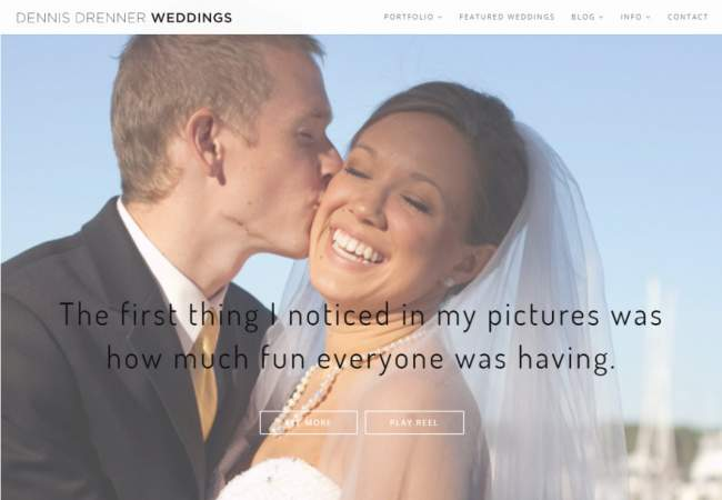 screenshot of Dennis Drenner Weddings website
