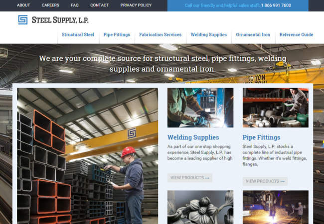 screenshot of Steel Supply LP website