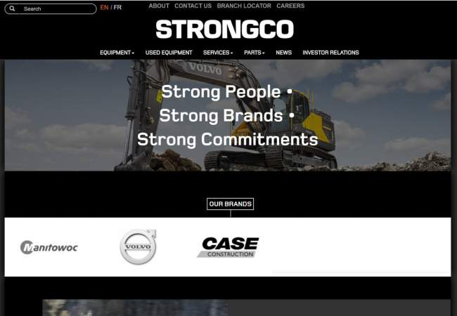 screenshot of Strongco website